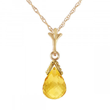 Citrine Droplet Pendant Necklace 4.5 ct in 9ct Gold