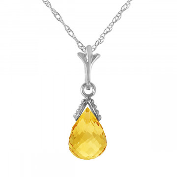 Citrine Droplet Pendant Necklace 4.5 ct in 9ct White Gold