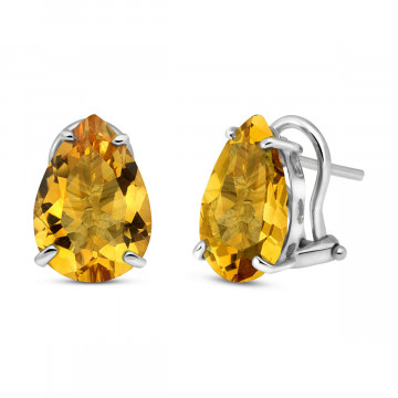 Citrine Droplet Stud Earrings 10 ctw in 9ct White Gold