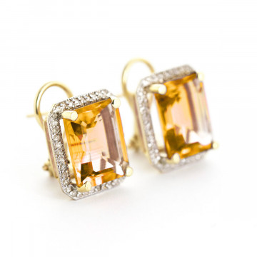 Citrine French Clip Halo Earrings 10.8 ctw in 9ct Gold