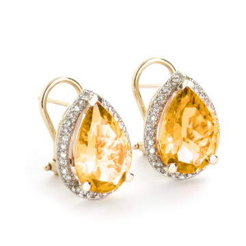 Citrine French Clip Halo Earrings 7.32 ctw in 9ct Gold