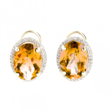 Citrine French Clip Halo Earrings 9.76 ctw in 9ct Gold