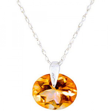 Citrine Gem Drop Pendant Necklace 0.8 ct in 9ct White Gold