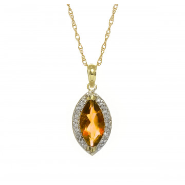 Citrine Halo Pendant Necklace 1.8 ctw in 9ct Gold
