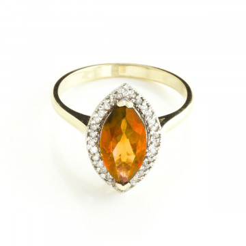 Citrine Halo Ring 1.8 ctw in 9ct Gold