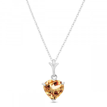 Citrine Heart Pendant Necklace 1.15 ct in 9ct White Gold
