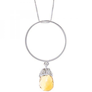 Citrine Infinity Pendant Necklace 3 ct in 9ct White Gold