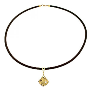 Citrine Leather Pendant Necklace 8.76 ctw in 9ct Gold