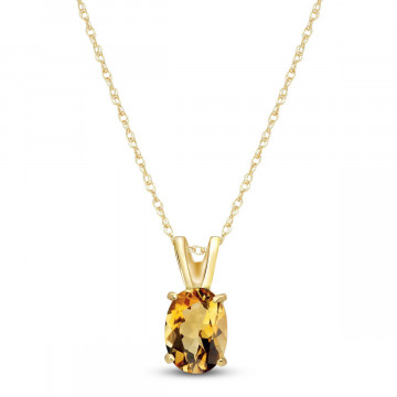 Citrine Oval Pendant Necklace 0.85 ct in 9ct Gold