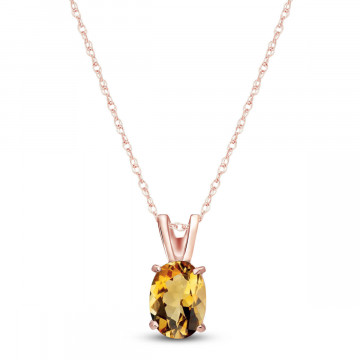Citrine Oval Pendant Necklace 0.85 ct in 9ct Rose Gold