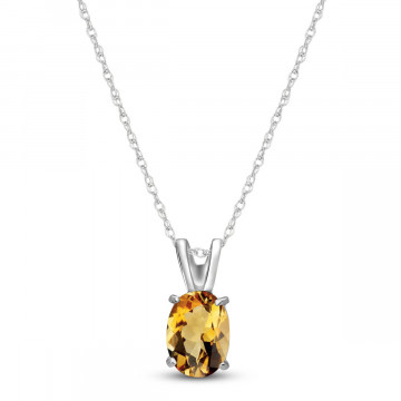 Citrine Oval Pendant Necklace 0.85 ct in 9ct White Gold