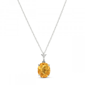 Citrine Oval Pendant Necklace 3.12 ct in 9ct White Gold