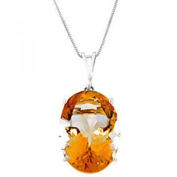 Citrine Oval Pendant Necklace 6 ct in 9ct White Gold