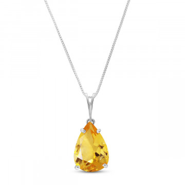 Citrine Pear Drop Pendant Necklace 5 ct in 9ct White Gold