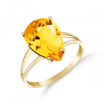 Citrine Pear Drop Ring 5 ct in 9ct Gold