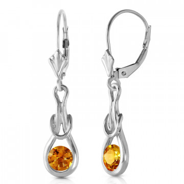 Citrine San Francisco Drop Earrings 1.3 ctw in 9ct White Gold