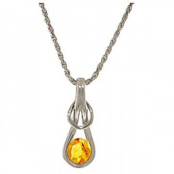 Citrine San Francisco Pendant Necklace 0.65 ct in 9ct White Gold