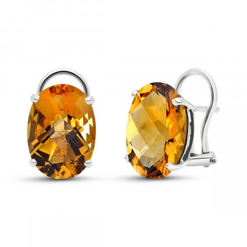 Citrine Stud Earrings 12 ctw in 9ct White Gold