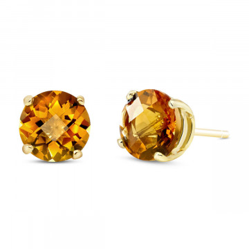 Citrine Stud Earrings 3.1 ctw in 9ct Gold
