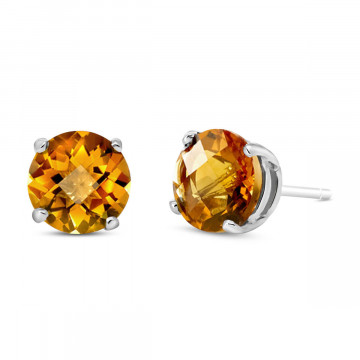 Citrine Stud Earrings 3.1 ctw in 9ct White Gold