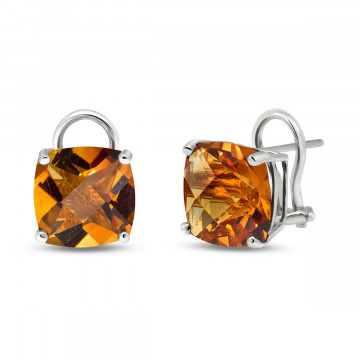 Citrine Stud Earrings 7.2 ctw in 9ct White Gold