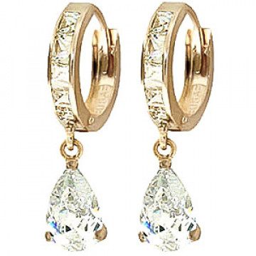 Cubic Zirconia Droplet Huggie Earrings 5.7 ctw in 9ct Gold