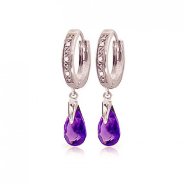 Diamond & Amethyst Droplet Huggie Earrings in 9ct White Gold