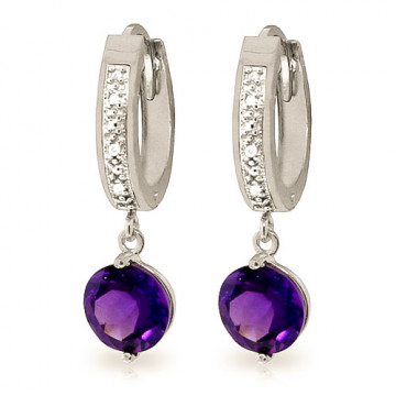 Diamond & Amethyst Huggie Earrings in 9ct White Gold