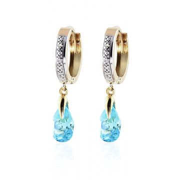 Diamond & Blue Topaz Droplet Huggie Earrings in 9ct Gold