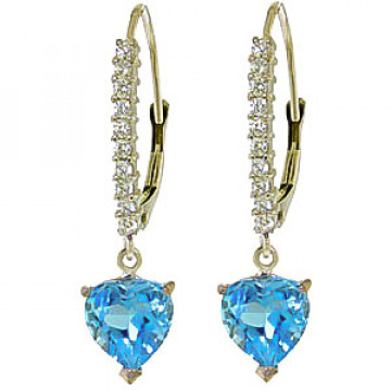 Diamond & Blue Topaz Laced Drop Earrings in 9ct White Gold