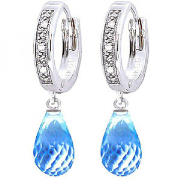Diamond & Blue Topaz Wreathed Earrings in 9ct White Gold
