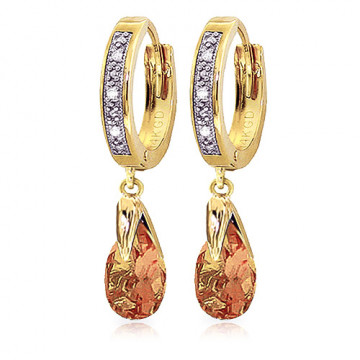 Diamond & Citrine Droplet Huggie Earrings in 9ct Gold