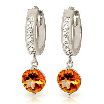 Diamond & Citrine Huggie Earrings in 9ct White Gold