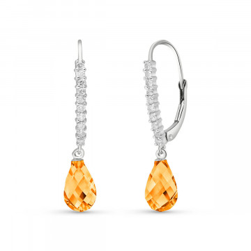 Diamond & Citrine Laced Stem Drop Earrings in 9ct White Gold