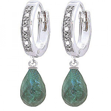 Diamond & Emerald Wreathed Earrings in 9ct White Gold