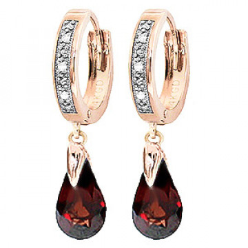 Diamond & Garnet Droplet Huggie Earrings in 9ct Rose Gold