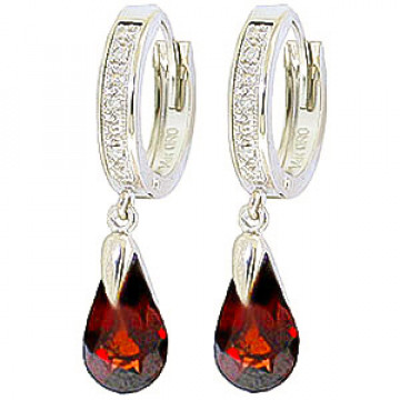 Diamond & Garnet Droplet Huggie Earrings in 9ct White Gold