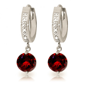 Diamond & Garnet Huggie Earrings in 9ct White Gold