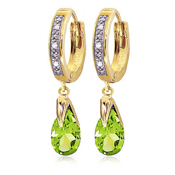 Diamond & Peridot Droplet Huggie Earrings in 9ct Gold
