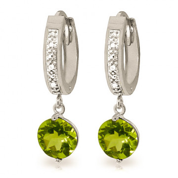 Diamond & Peridot Huggie Earrings in 9ct White Gold