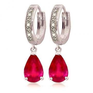 Diamond & Ruby Droplet Huggie Earrings in 9ct White Gold