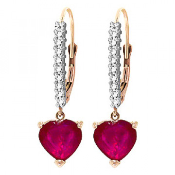 Diamond & Ruby Laced Drop Earrings in 9ct Rose Gold