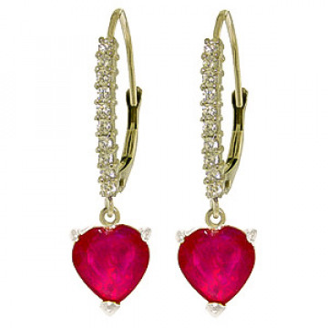 Diamond & Ruby Laced Drop Earrings in 9ct White Gold