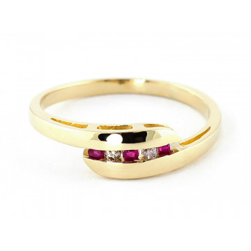 Diamond & Ruby Precision Set Channel Set Ring in 9ct Gold