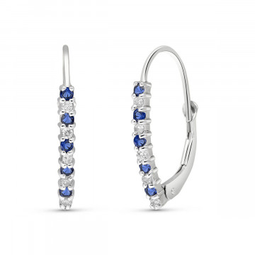 Diamond & Sapphire Laced Stem Drop Earrings in 9ct White Gold
