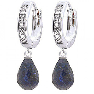 Diamond & Sapphire Wreathed Earrings in 9ct White Gold
