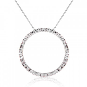Diamond Circle of Life Pendant Necklace 0.1 ctw in 9ct White Gold