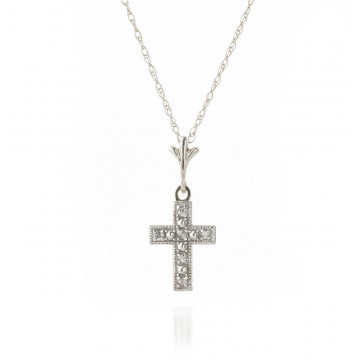Diamond Cross Pendant Necklace 0.03 ctw in 9ct White Gold