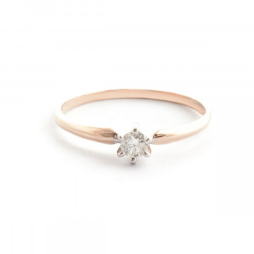 Diamond Crown Solitaire Ring 0.15 ct in 9ct Rose Gold
