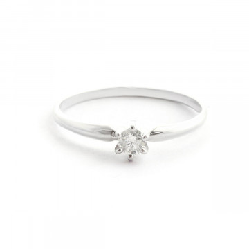 Diamond Crown Solitaire Ring 0.15 ct in Sterling Silver